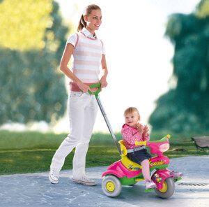 Детский трехколесный велосипед puky с родительской ручкой и надувными колесами