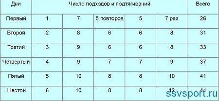 Таблица подтягиваний на турнике